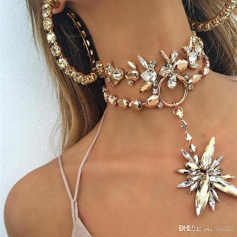 New Exaggerated Choker Statement Collar Necklaces Chokers Crystal Chokers Statement Necklaces Fashion Short Chokers with Crystal Pendants