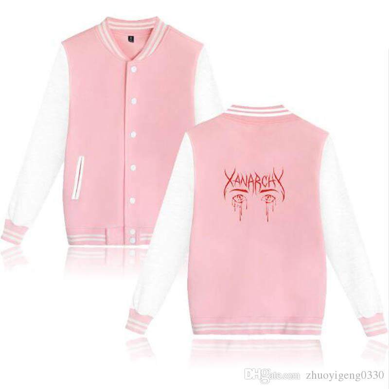 012899d7b58ce Lil xan Xanarchy sudadera moda Slim Fit universitario Varsity sudaderas con capucha  Patchwork de manga larga chaqueta de béisbol abrigo Lil xan Xanarchy
