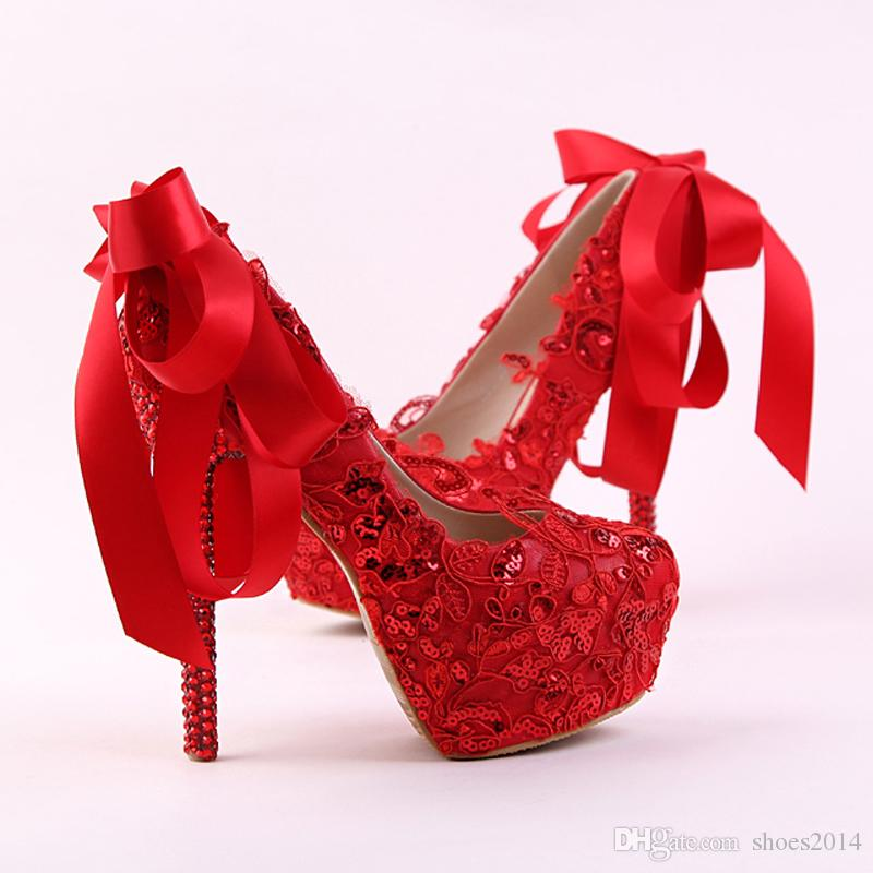 b5cae38142 Handmade Red Lace Bride Shoes Fashion Glitter Stiletto Heel Wedding Dress  Shoes With Ribbon Bow And Rhinestone Heel Women Pumps Latest Bridal Shoes  ...