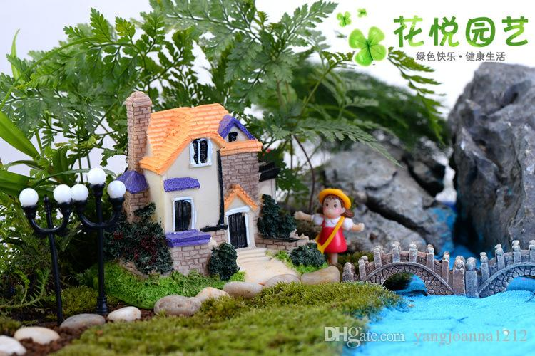 4 style Large Chinese luxury Villa micro landscape Decorative b figurines toys ornaments resin small house model gifts DIY materials
