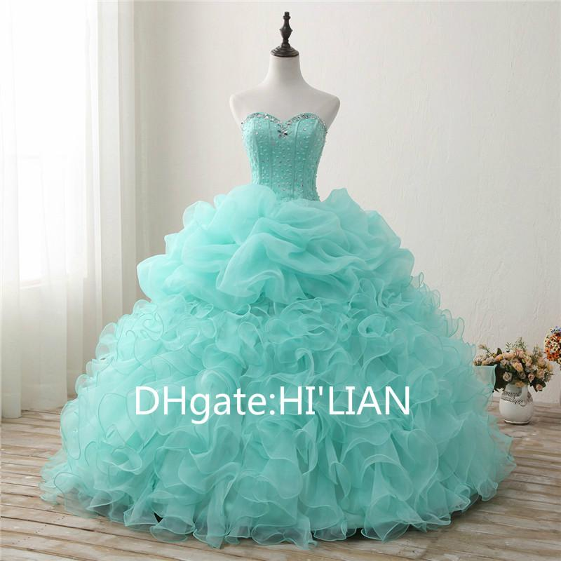 aac7dd08424 Custom Made Mint Green Quinceanera Dresses Ball Gown Sweetheart Prom Dress  Evening Dress Ruffles Debutante Longo Organza Online Prom Dress Stores Prom  ...