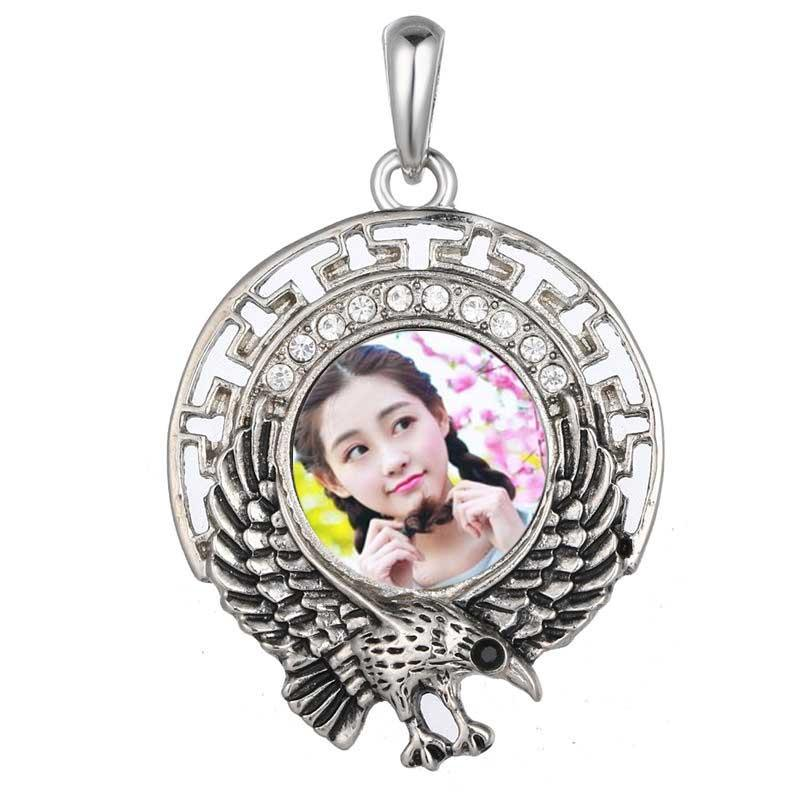 necklaces pendants for dye sublimation eagle zircon necklace pendant for woman heat transfer diy blank custom consumables include chain