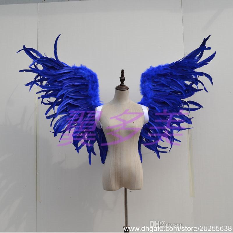 Personalizados apoyos decoración de la manera de Funcionamiento de la boda fotografía puros hechos a mano negros grandes alas de plumas diablo EMS Free