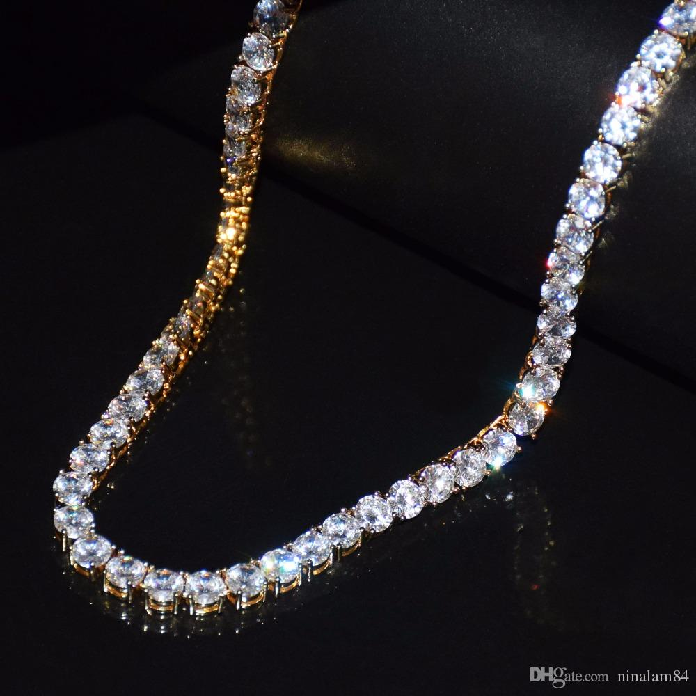 43d67ba845295 3mm Iced Out Zircon 1 Row Tennis Chain Necklace Hip hop Jewelry Gold Silver  Copper Material Men CZ Necklace Link 20inch