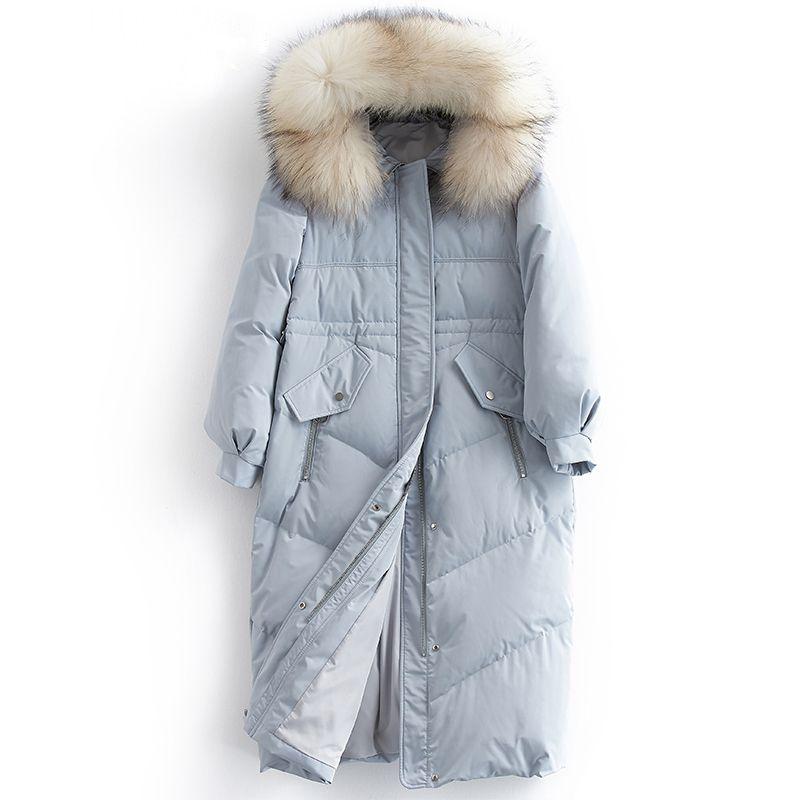 Ente Haube Npi Echte Modedesign Pelzbesatz 81029a Dicke Daunenmantel Waschbären Frauen 90Weiße Weibliche Daunenjacke Winter Warme TFJ3lcK1