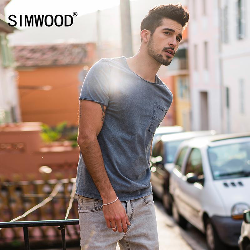 75503670bb619 SIMWOOD New 2018 Summer T Shirts Men 100% Pure Cotton Pocket Breton Top  Casual Slim Fit High Quality Brand Clothing TD017109 S917 Great T Shirts  Buy T Shirt ...