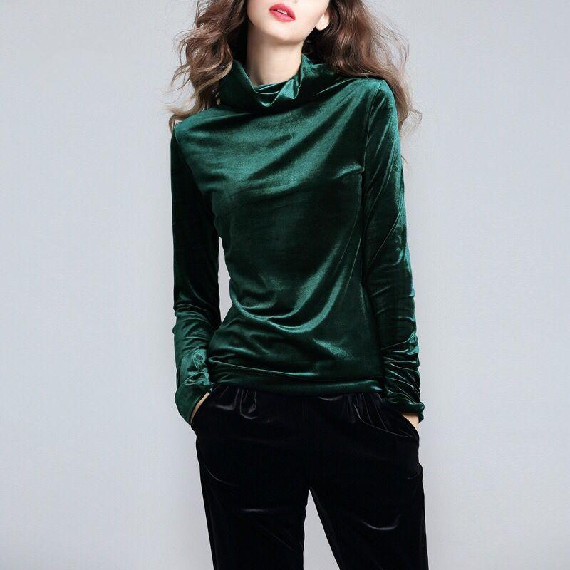 0f2d3b518dd14 Velvet Tops Women Shirts Solid Color 2019 Spring Fashion Long Sleeve  Turtleneck Velour Blouse Plus Size Women Basic Shirt Online with   38.22 Piece on ...