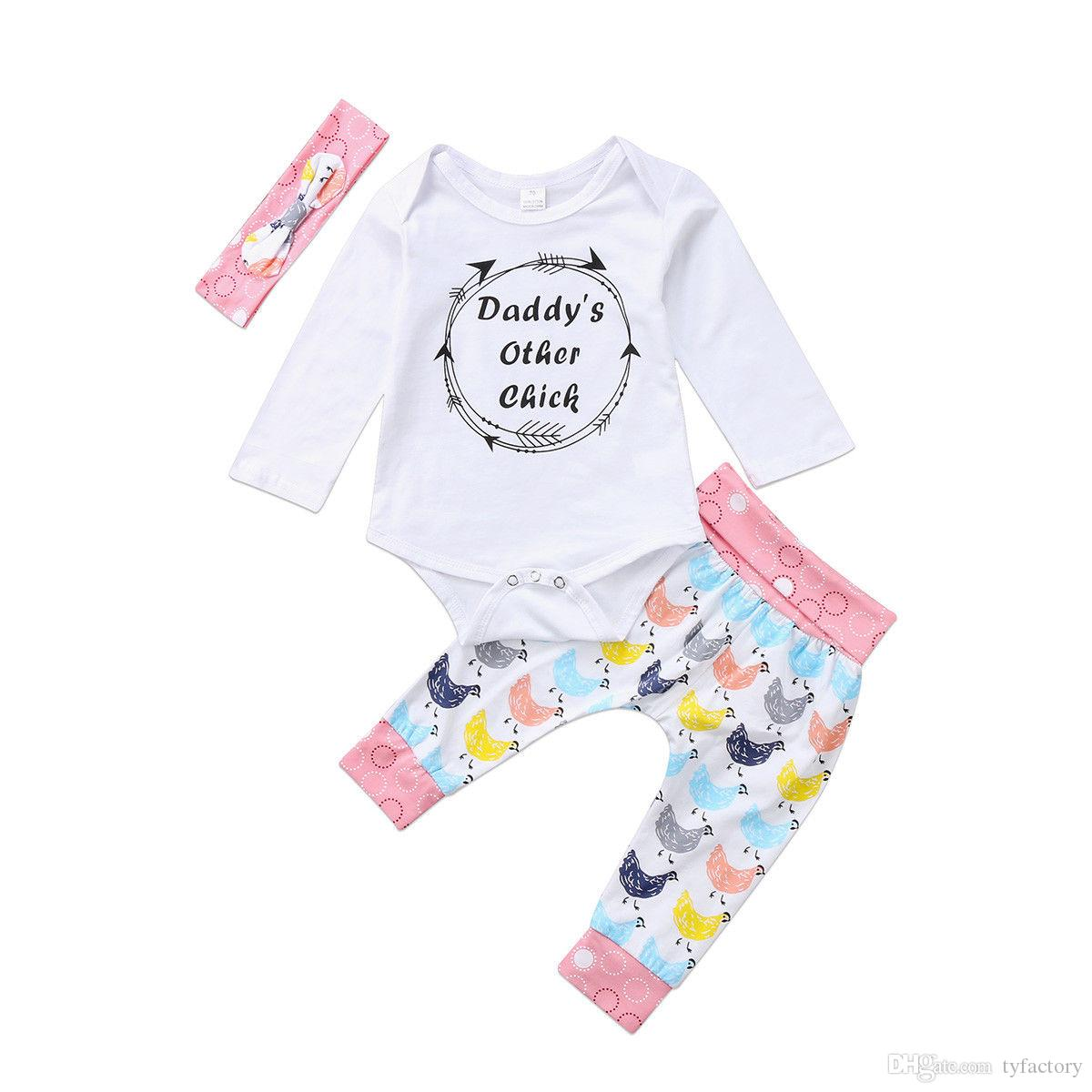 b76eaebfc6c 2019 Newborn Baby Girl Tops Romper Jumpsuit Pants Trousers Headband Outfits  Set Clothes Kid Girls Animal Boutique Clothing 0 24M From Tyfactory