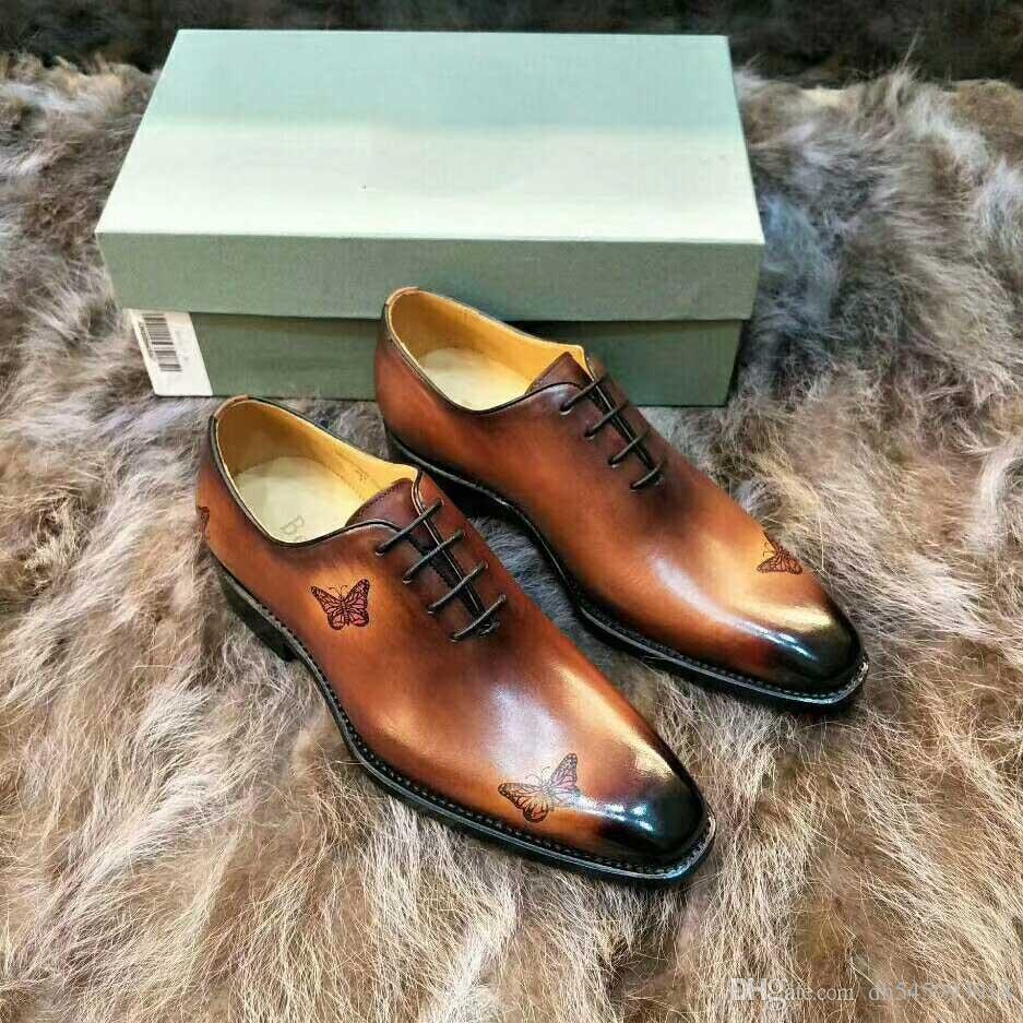 2019 [Original Box] Luxury Mens Handmade Leather Shoes Dress Wedding Casual Walk Shoes Office Work Made in Italy Shoes Tops Size 39-44