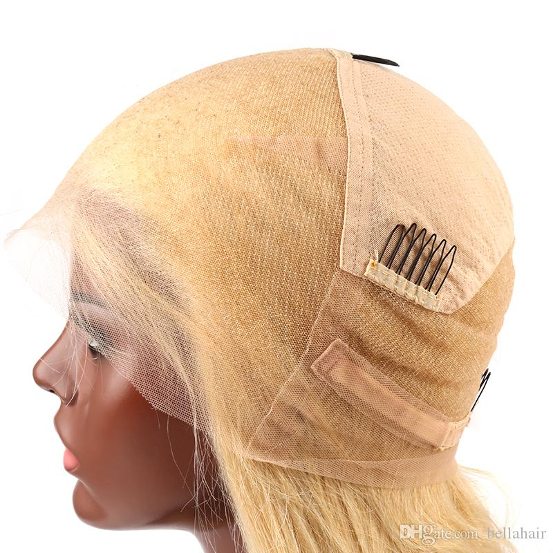Top Quality Blond Full Lace Wigs with Combs #613 Human Hair Lace Wigs Virgin Human Hair Transparent Lace Medium Cap