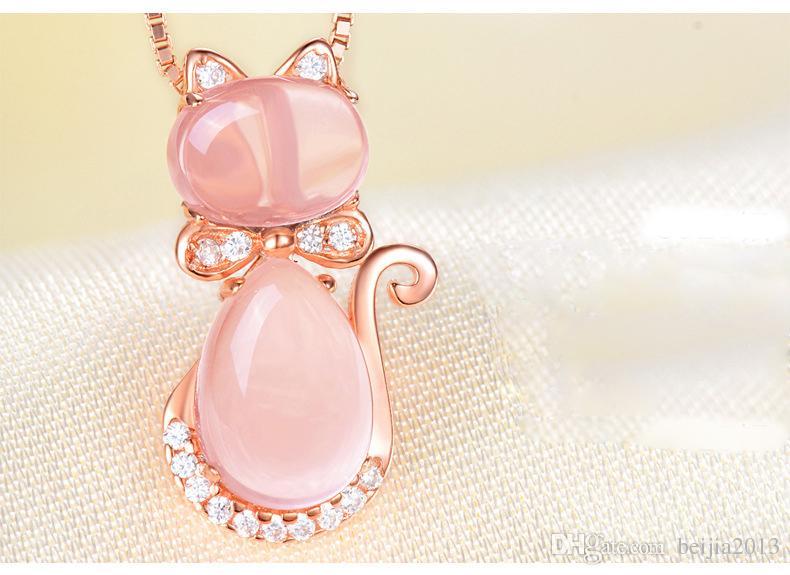 Spedizione gratuita rosa color oro carino gatto ross quarzo rosa opale collana di gioielli set le donne ragazze bambini regalo choker