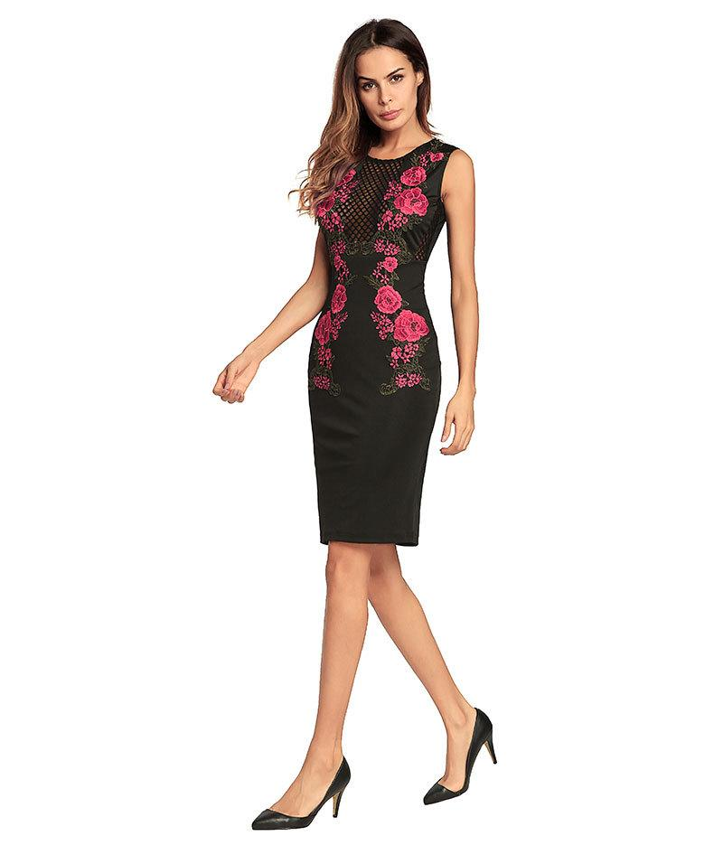 Women Bodycon Dresses Summer Floral Rose Embroidery Hollow Out Party Sexy Dress Pencil Dresses Clothing