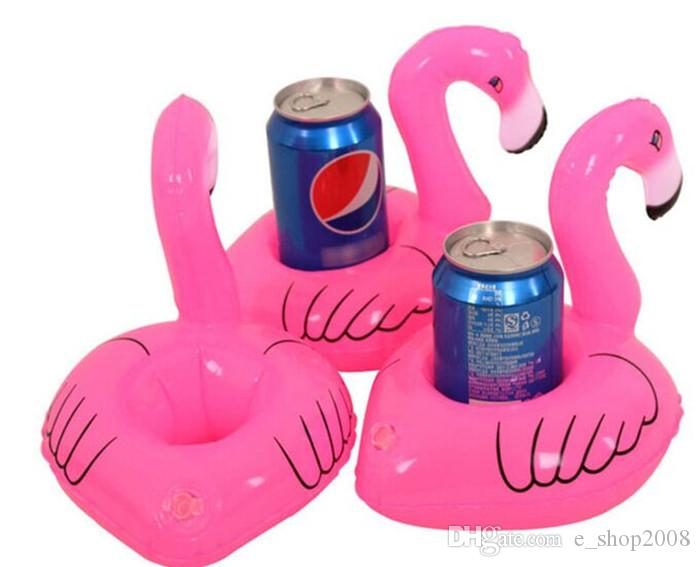 Inflatable Flamingo Drinks Cup Holder Pool Floats Bar Coasters Floatation Devices Children Bath Toy Drink Holder and Decoration