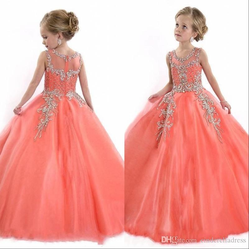 2018 Girls Pageant Dresses Sheer Crew With Beads Rhinestones Rachel Allan  Crystal Princess Child Birthday Party Gowns BO8908 Girls Dress Shoes Ivory  Flower ... 17602be3985d