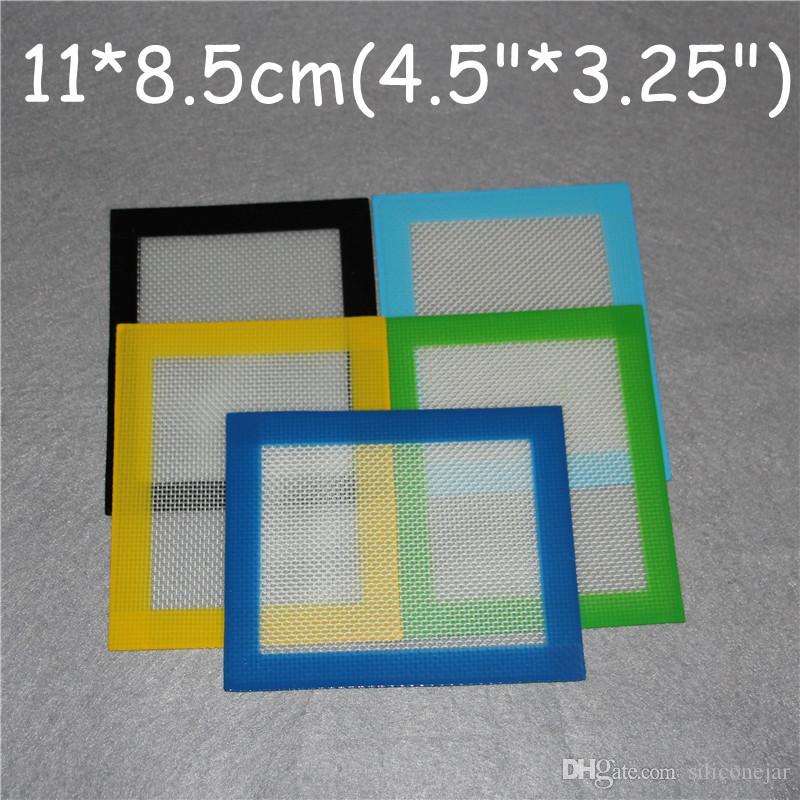 Tapetes de Silicone Almofadas de Não-Vara de Silicone Seco Tapete de Ervas 11 * 8.5 cm Food Grade Esteira de cozimento Dabber Sheets Jars Dab Pad Verde Azul Amarelo