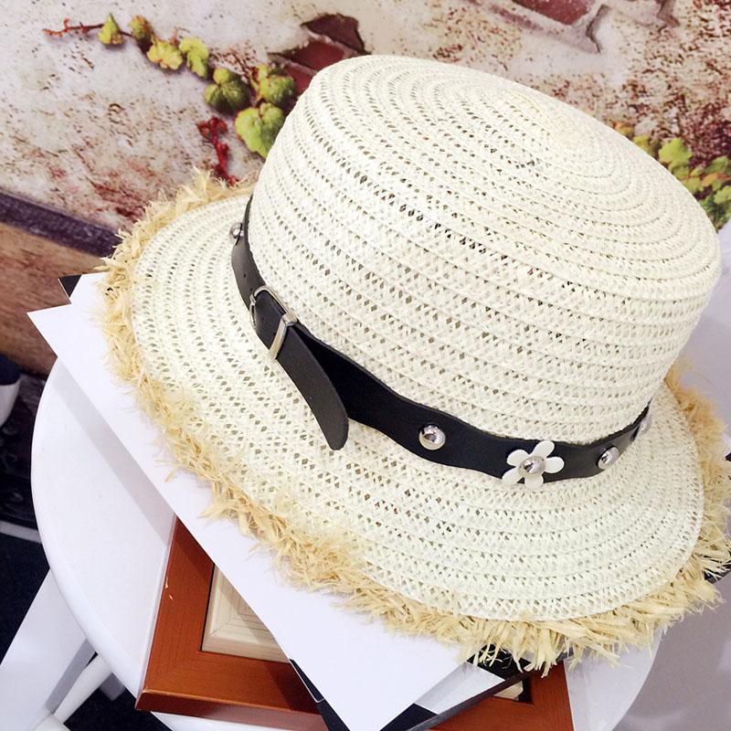 4959b7f8 2018 New Straw Hat Flat Top Summer Women's Spring travel Casual Beach Hats  Sun Hats Breathable Flower Outdoor Caps Female Hat