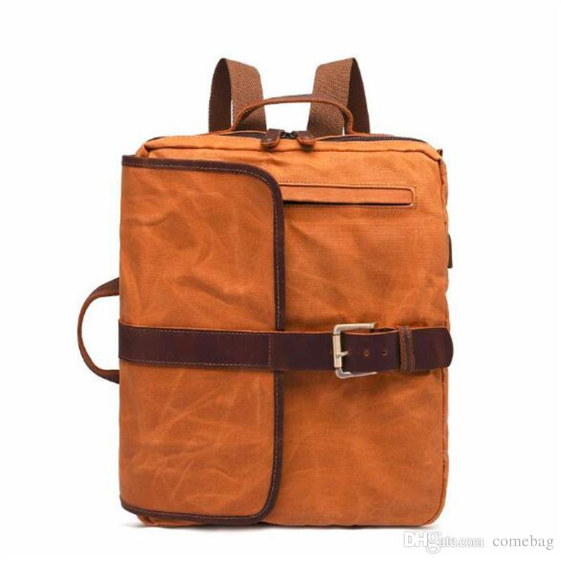 4672f8dca15 Retro Men Canvas Backpack Business Laptop Totes Bag Outdoor Travel  Weekender Rucksack Student School Bag Toddler Backpack Kelty Backpack From  Comebag, ...
