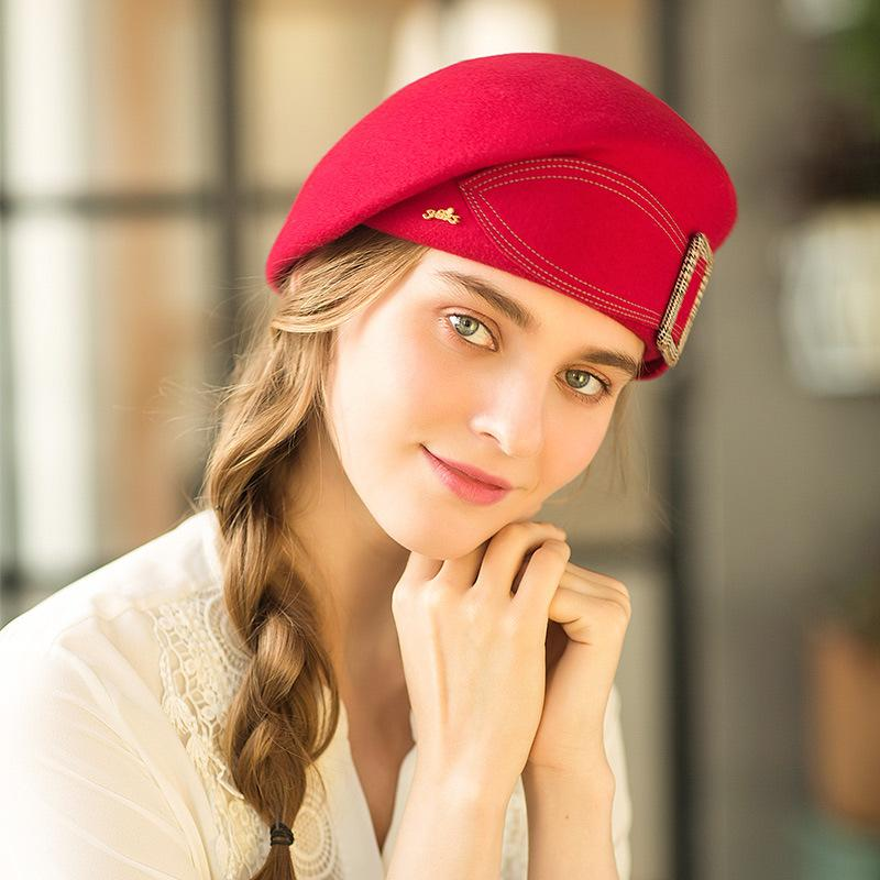 4156d9725ec41 2019 Girls Beret 2018 Winter New Style 100% Wool British Style Womens Berets  Vintage Solid Bowknot Flat Berets Women Caps From Maocai