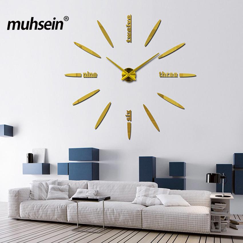 3d large wall sticker clock new wall clock acrylic metal mirror big