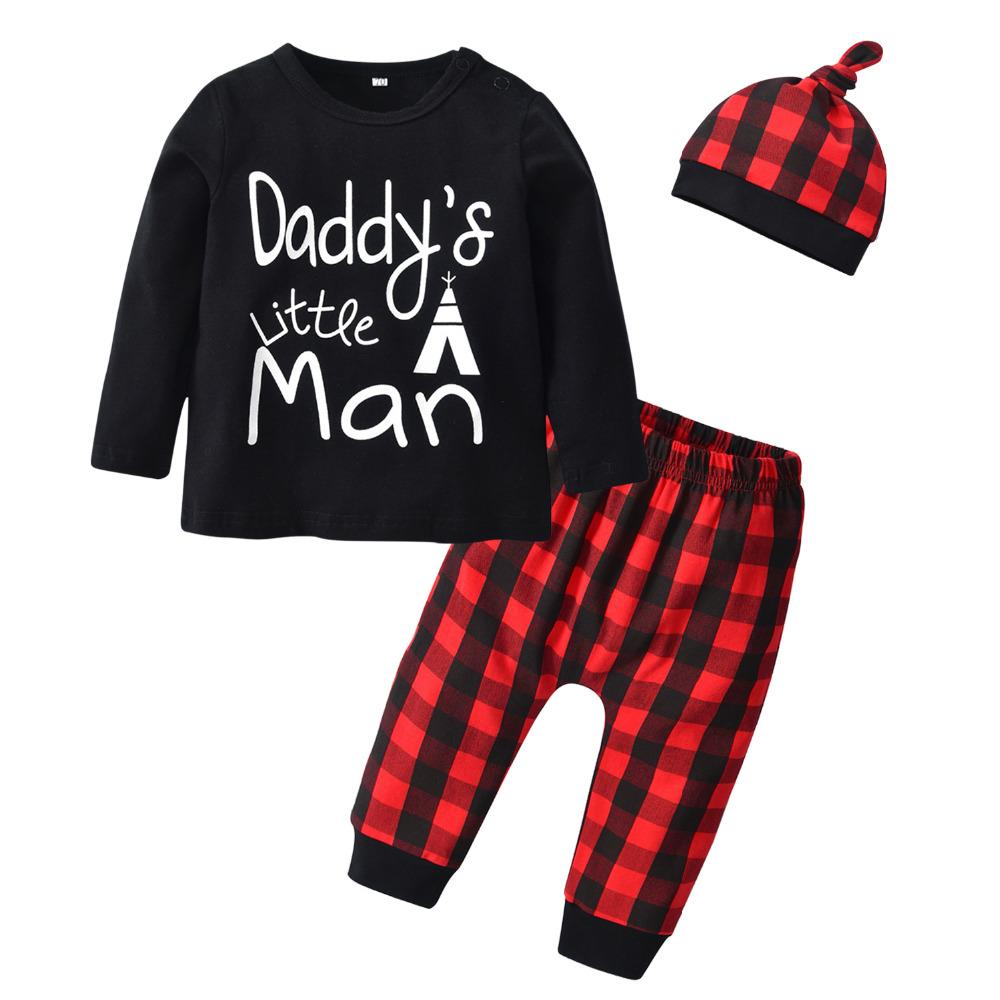 1f60e87ba 2019 Newborn Baby Boys Clothes Cotton T Shirt Tops Pants Hat Letter ...
