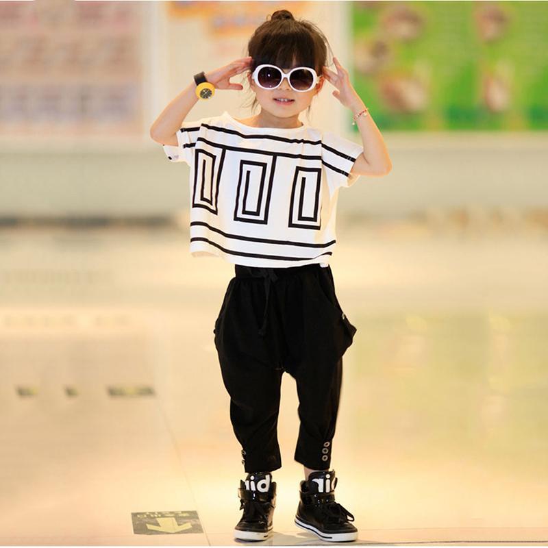 d85549d4cca Kids Sets Big Girls Summer Outfits Bat Sleeve Loose T-shirt Tops+ ...