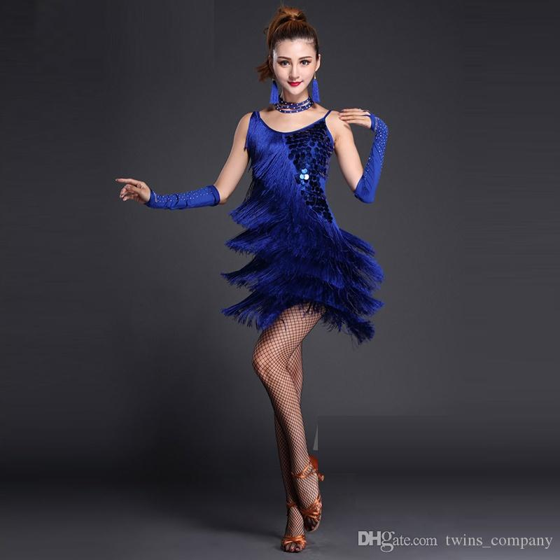 Performance Women Dance Clothes Embroid Costume Set with Bracelets Ballroom Fringe Latin Dress Women Competition