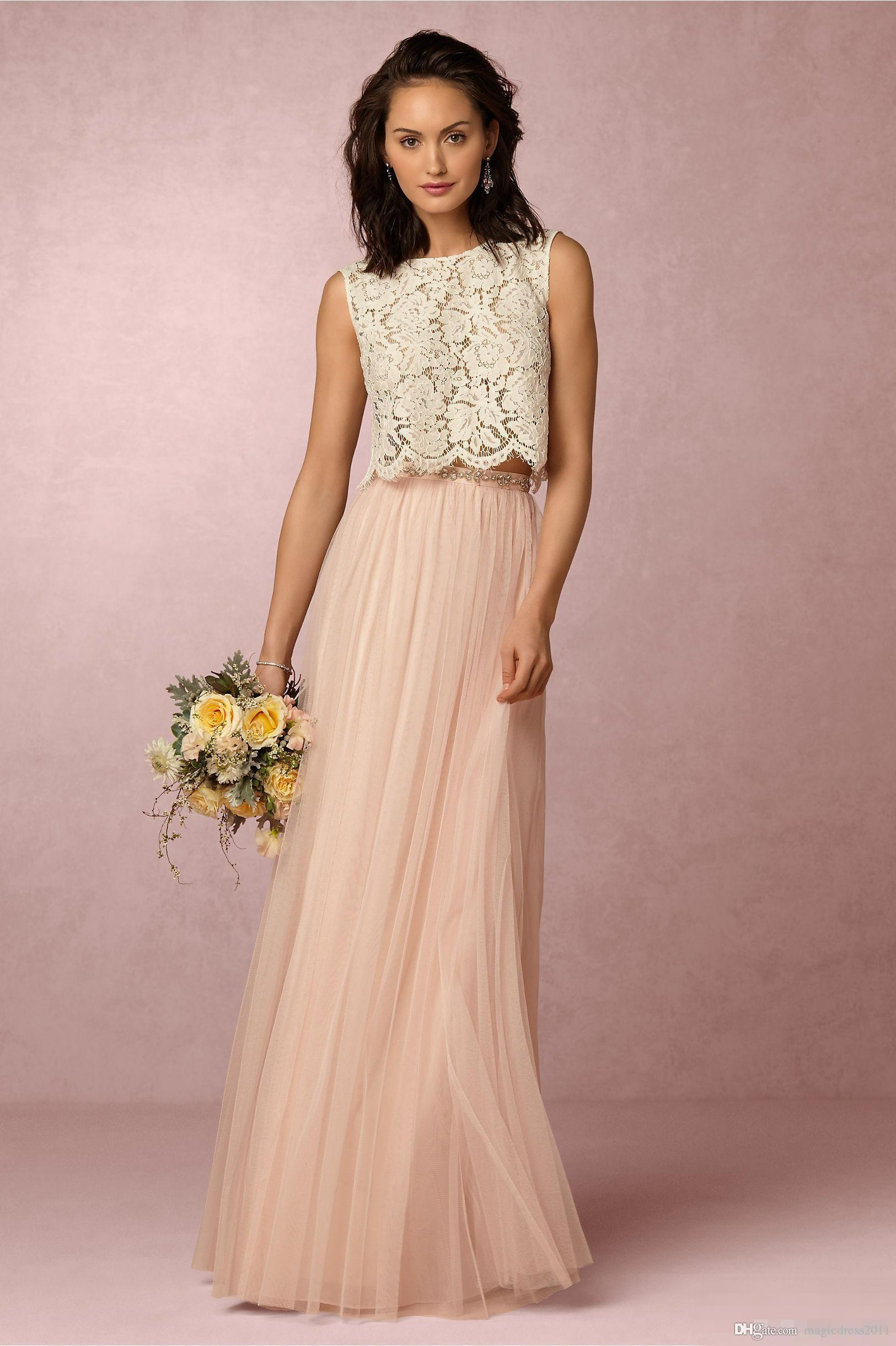 2018 Vintage Blush Pink Two Pieces Lace Bridesmaid Dresses Soft Tulle Floor Length Evening Gowns Formal Prom Party Cheap Custom: Soft Pink Vintage Wedding Dresses At Reisefeber.org