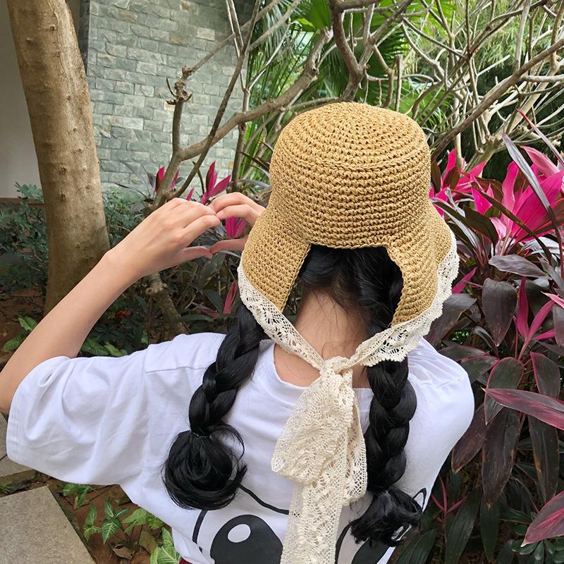 cea188e914f 2018 Summer Women Foldable Crochet Straw Hat Hollow Out Lace Bands Hats  Irregular Wide Brim Beach Ponytail Caps Black Floppy Hat Flat Bill Hats  From Saucy