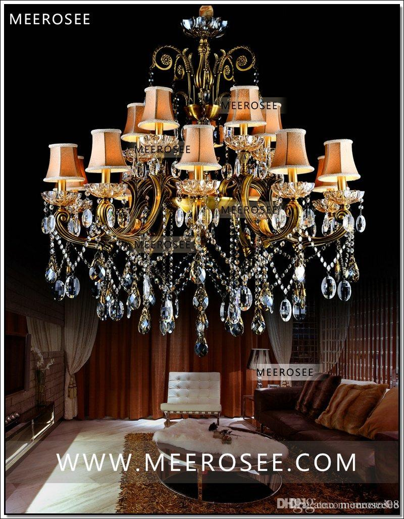 Hot big crystal chandelier light fixture antique brass large suspension lustres chandelier lamp with lampshade md8504 l15