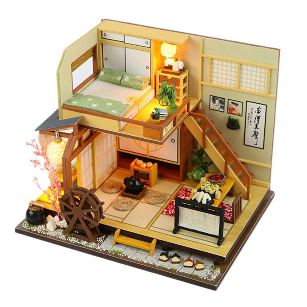 diy doll house furniture miniature forest holiday japanese style house doll  house with led children s 3d wooden gift toy