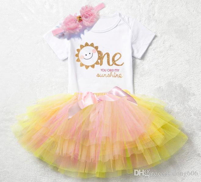 9dbd9cc87 2018 New You Are My Sunshine Baby Girls 1st First Birthday Outfit Cake  Smash Tutu Skirt Top Headband Canada 2019 From Dong606, CAD $10.82 | DHgate  Canada
