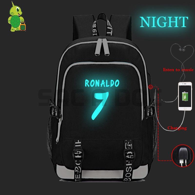 Cristiano Ronaldo CR7 USB Charging Laptop Backpack For Teenage Girls Boys  Luminous School Bags Multifunction Travel Rucksack Backpacks For College  Backpacks ... 990d6cbb9d2fc