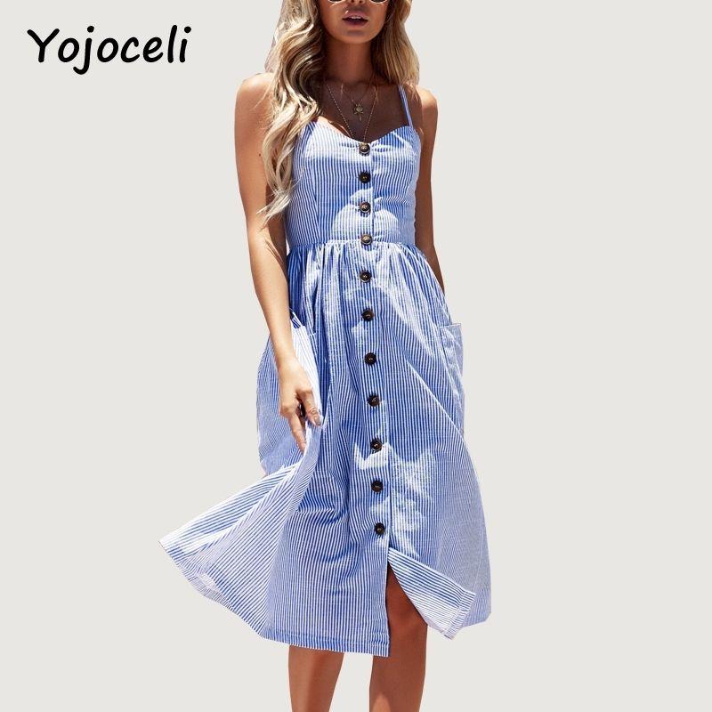 f447ff5eb82 Yojoceli Striped Button Sexy Casual Summer Strap Dress Long Boho Beach  Pockets Women Sundress Vestidos Elegant Daily Dess Female D1891204 Long  Sleeve ...