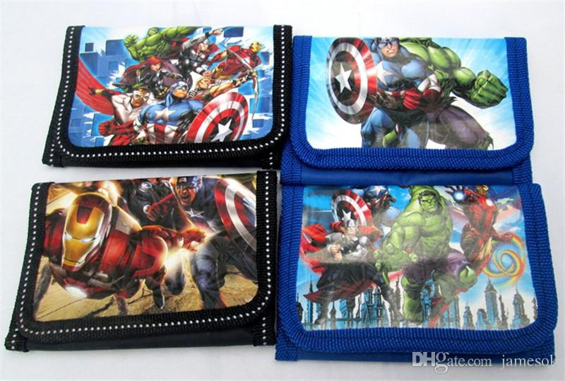 Çocuk cüzdan Avengers süper kahramanlar erkek ve kız Çanta karikatür Demir Adam Hulk çocuklar cüzdanlar TO530