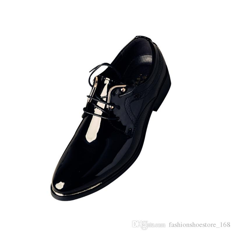 3462bb299c Classic Business Office Formal Leather Shoes Men Pointed Toe Men Dress Shoes  Metal Elegant Patent Leather Party Wedding Dress Shoes Leather Slip On Shoes  ...
