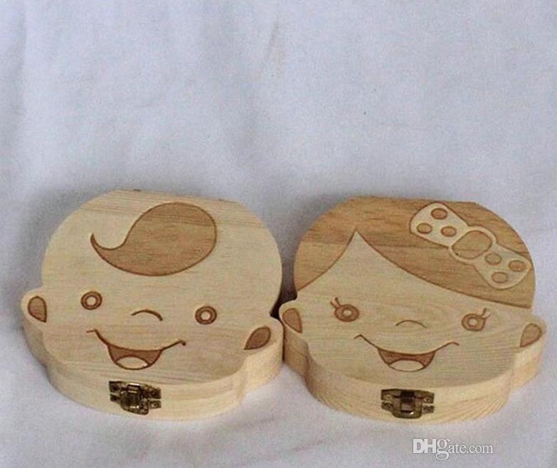 Spanish English Paint Tooth Box Organizer for Baby Milk Teeth Save Wood Storage Box Gift For Kids Boy & Girl # YA101