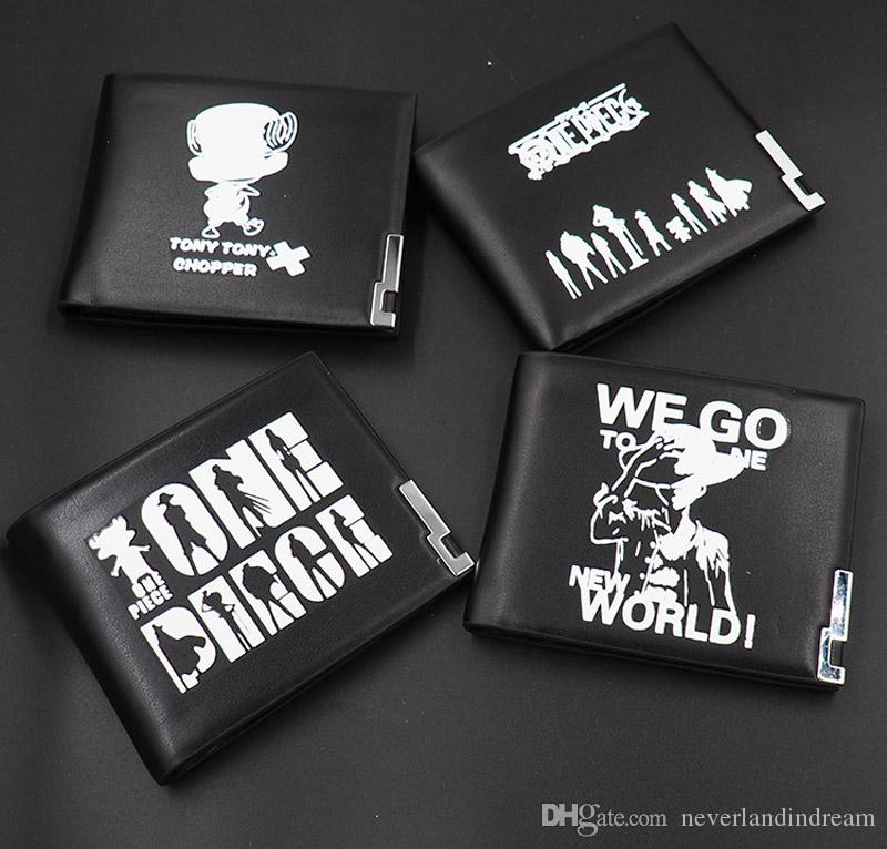 TOP : Monkey D. Luffy Black Cool Anime One Piece Short Wallet PU Leather Card Holder Purse Casual Fashion Money Bag for Gift