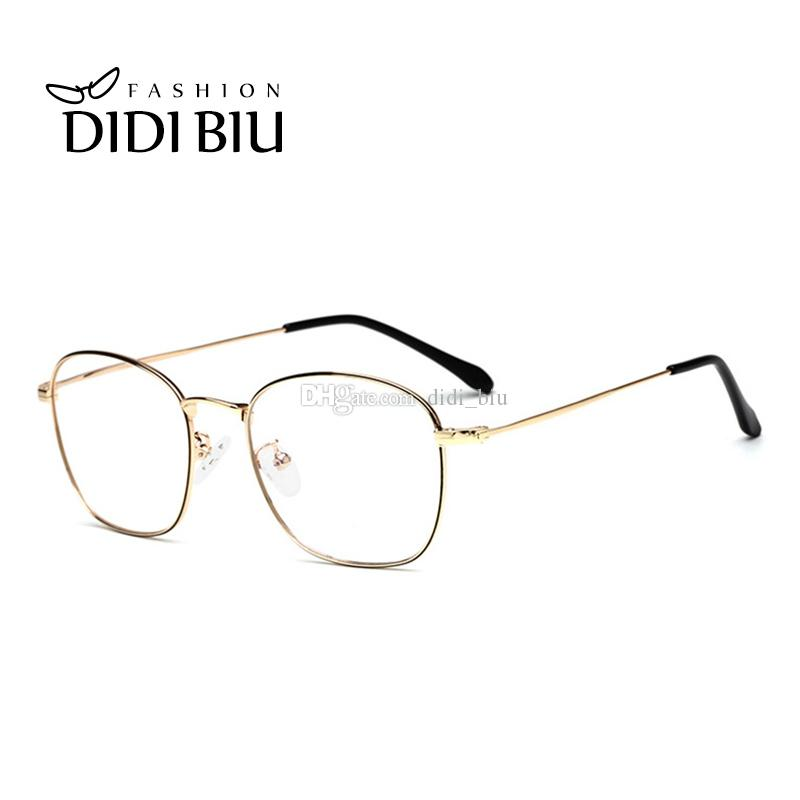 60ebf83655c DIDI Rectangle Optical Frames Eyeglasses Women Men Stainless Steel ...