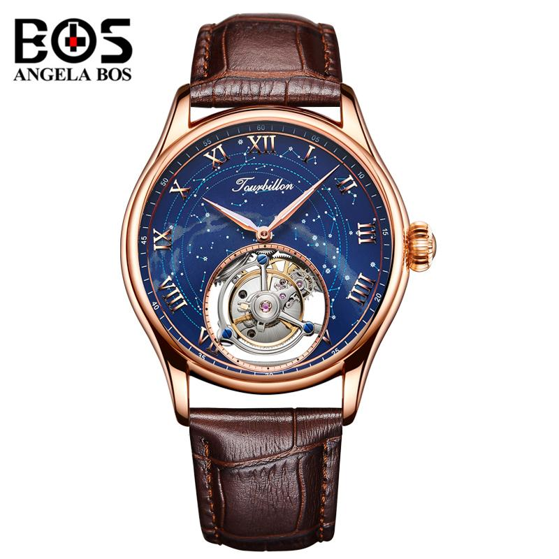 1ce8571508b Compre ANGELA BOS Relógio Mecânico De Luxo Dos Homens À Prova D  Água  Relógio De Pulso Automático Homem Rose Gold Relógio Reloj 2018 Montre Homme  De Fengzh