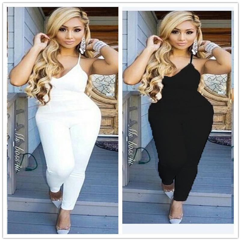 0fa5464fb Female Harness V-neck Overall Pants Color Black And White Size S-L ...