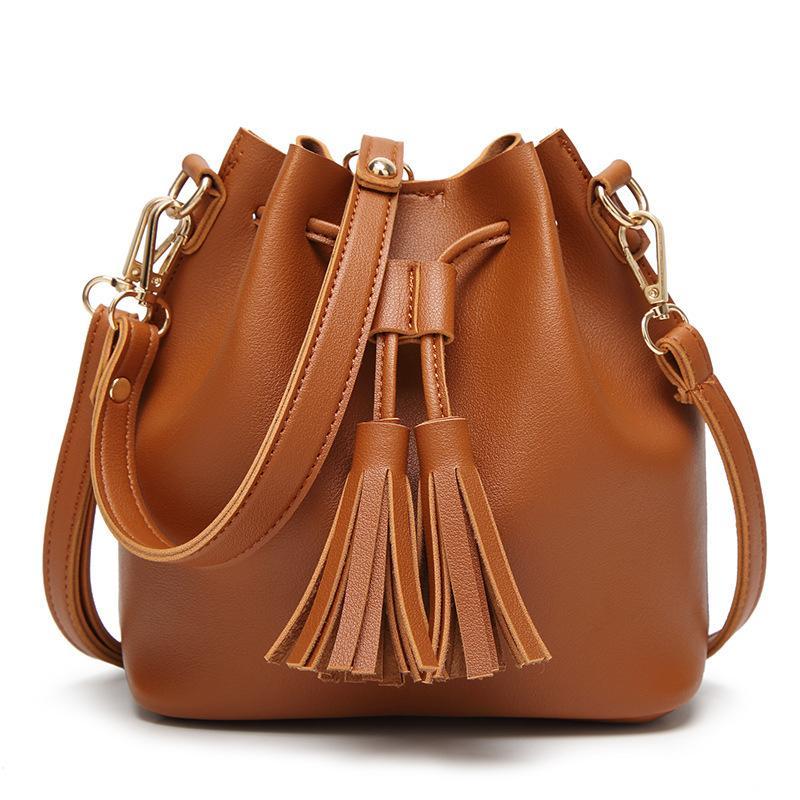 Women Bags Fashion PU Women S Leather Handbags Women Bag Tassel Bag High  Quality Female Drawstring Small Bucket Bags Womens Bags Black Handbag From  Wiskey 87de3f17f