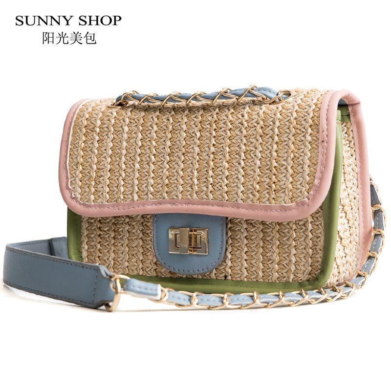 SUNNY SHOP Straw Crossbody Ladies Latest Handbags Small Chains Bag Women  2018 Summer Beach Sling Bag Casual Desiner Wholesaler Backpack Purse Bags  For Men ... 026d23897d