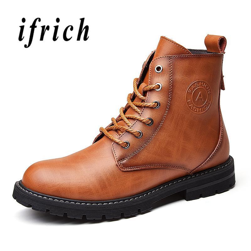 e553dc26748 Compre Martin Botas De Cuero Para Hombre De Goma Usable Cremallera Botas  Para Hombre Cómodo Moda Juvenil Zapatos Para Hombre Marrón Negro Al Aire  Libre A ...