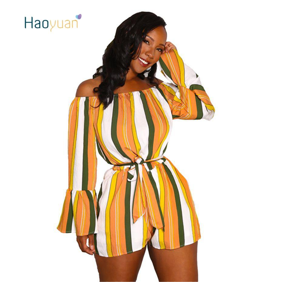 64f5e4198f6e HAOYUAN Sexy Rompers Womens Playsuits Summer 2018 New Overalls Bell ...