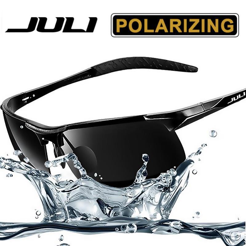 c5c3b6c84 Compre Estilo Deportivo De Los Hombres De JULI Gafas De Sol Polarizadas  Para Hombres Viaje Oculos Conducción Golf Gafas De Marco De Metal De  Aluminio ...