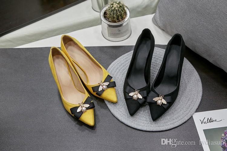 b810e6523 Bees Bowknot Yellow Pointed Toe Kitten Heel Shoes Shallow Mouth Spring  Small Pure And Fresh Single Women Shoes Size 35 44 Cheap Heels Comfort  Shoes From ...