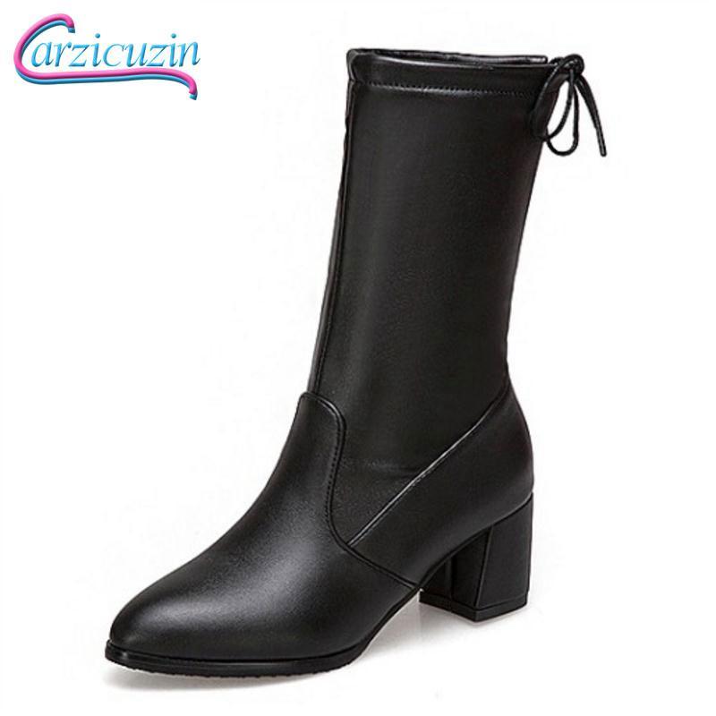 Compre Carzicuzin Mujeres Botas De Tacones Altos Zapatos De Mujer Botas  Cortas Cortas Clásico Slip On Mid Calf Calzado De Nieve De Invierno Talla  34 43 A ... 37d339fd7a62