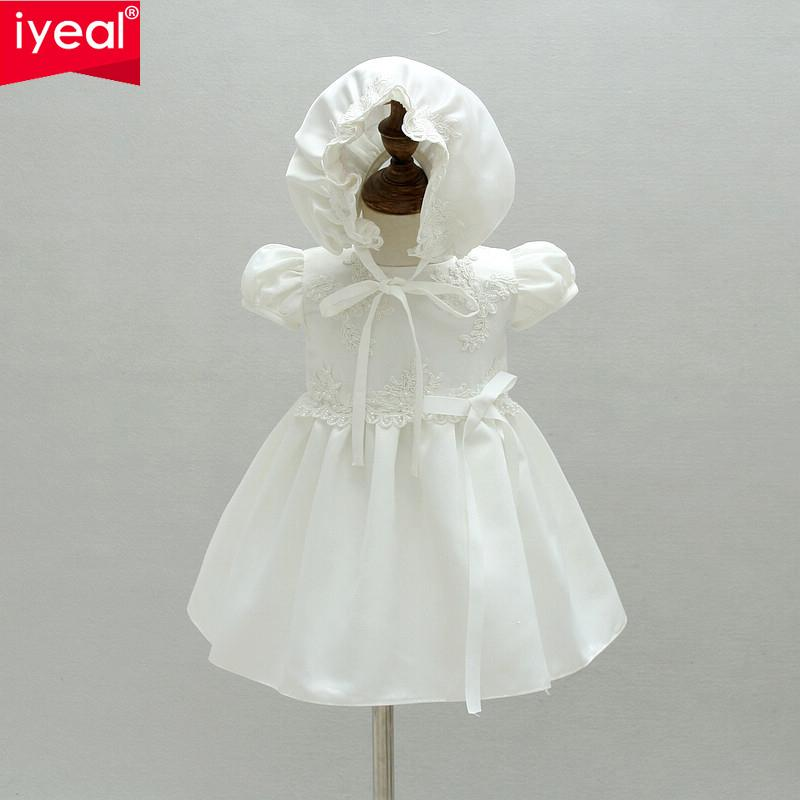 IYEAL Baby Girl Birthday Outfits Infant Party Dresses With hat For Baptism 2017 Newborn Christening Gown Toddler Girls Clothes