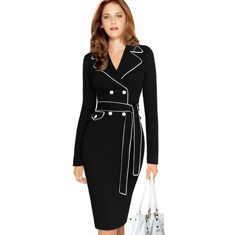 da5dc113f9911 Vintage Autumn Pencil Dress for Lady Fashion Women s Long-Sleeve Slim Suit  Collar Solid Color Patchwork Business Dresses Autumn Pencil Dress Long- Sleeve ...