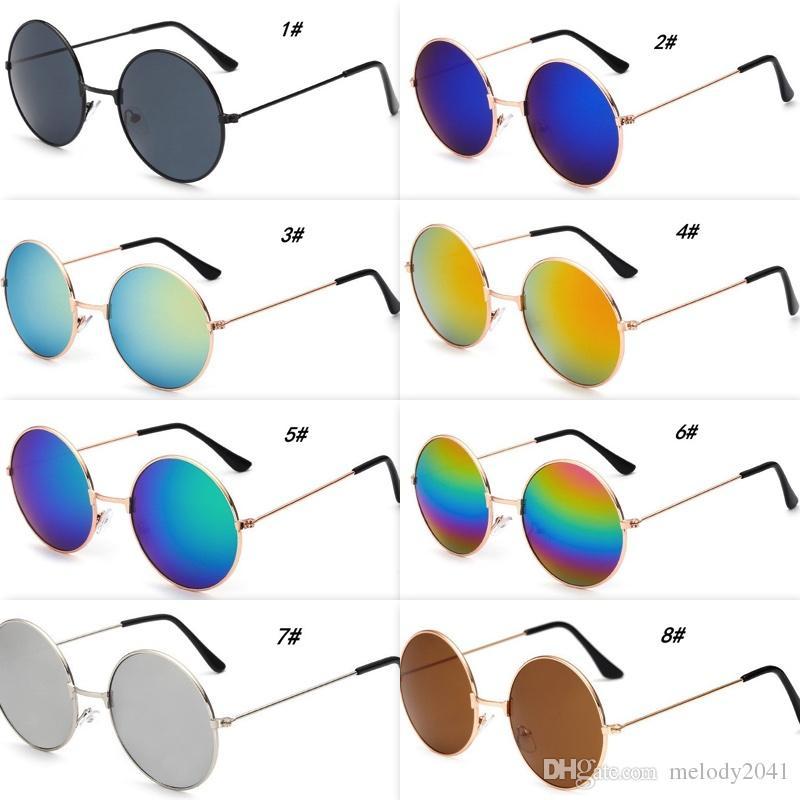 702fae61f1eb8 Compre Moda Metal Rodada Óculos De Sol Frescos Homens Armação Redonda Óculos  De Sol Com Lentes De Espelho 9 Cores Baratos Por Atacado De Melody2041